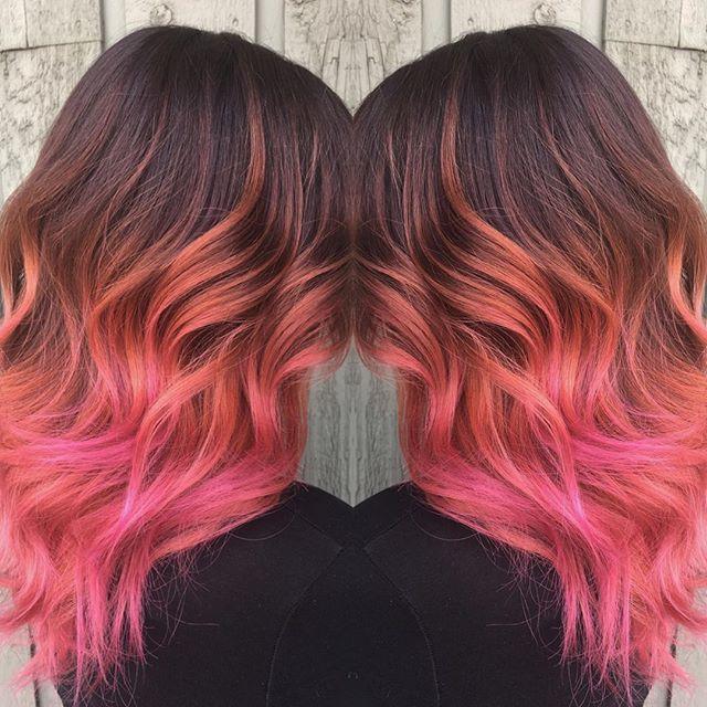 Pink & coral! _#unicorntribelife #yegstylist #yeghair #yegsalon #yeggers #unicornhair #pinkhair #hai