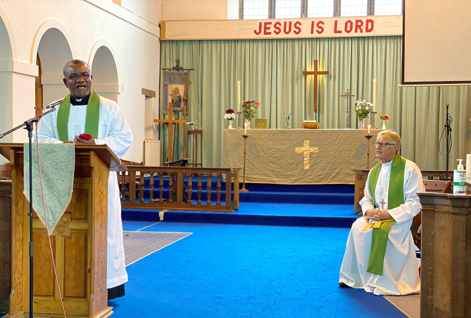 Revd Chika Nduku and Bishop Peter in St Elisabeth's church