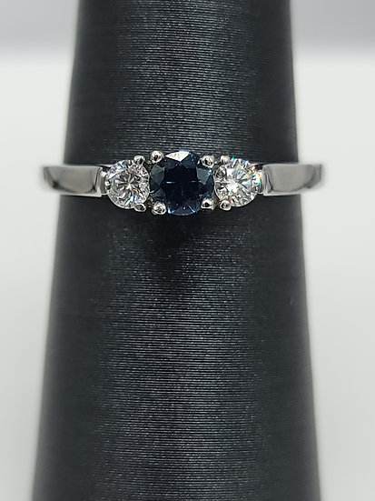 Sapphire & Lab Diamond Ring