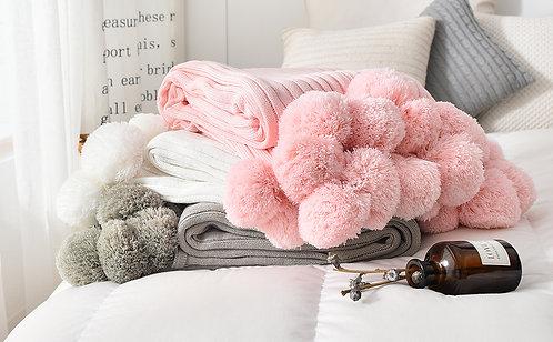 *SOLD* Pom Pom Blanket: Designed by @evagorj