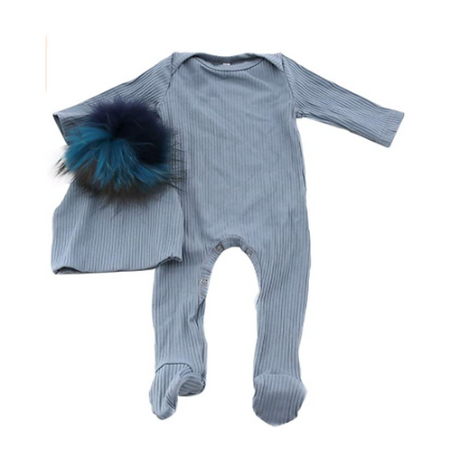 Ribbed Onesie & Hat Set: Designed by Kelly Levian