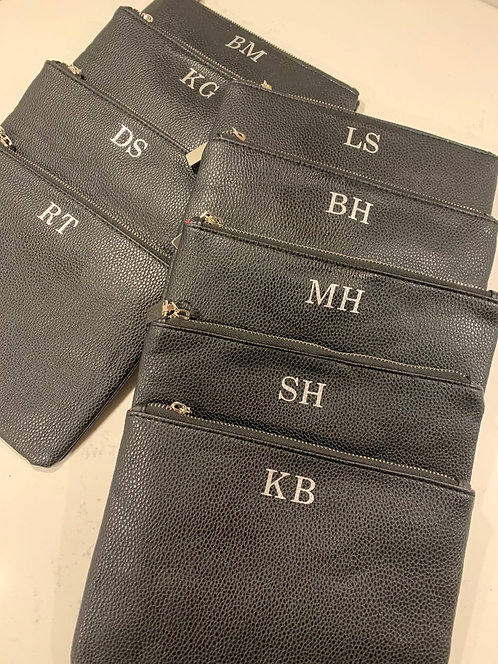 Black Leather Flat Clutch