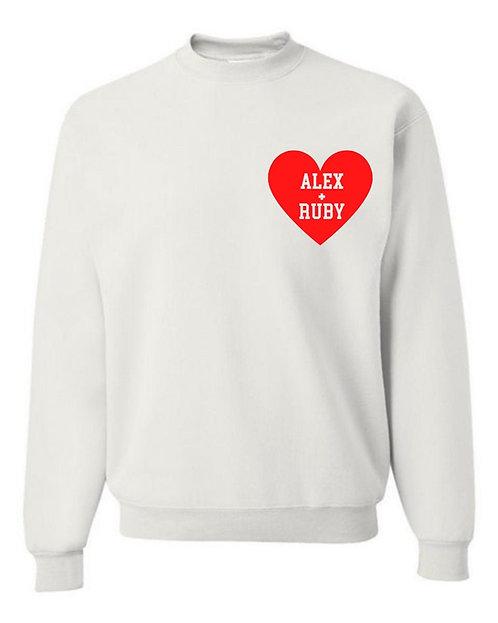 Couples Heart Decal Sweatshirt | Adult