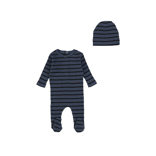 Striped Ribbed Footie with Beanie