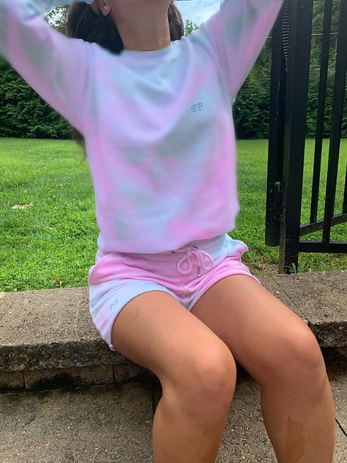 Tie Dye Sweatshirt Shorts Set