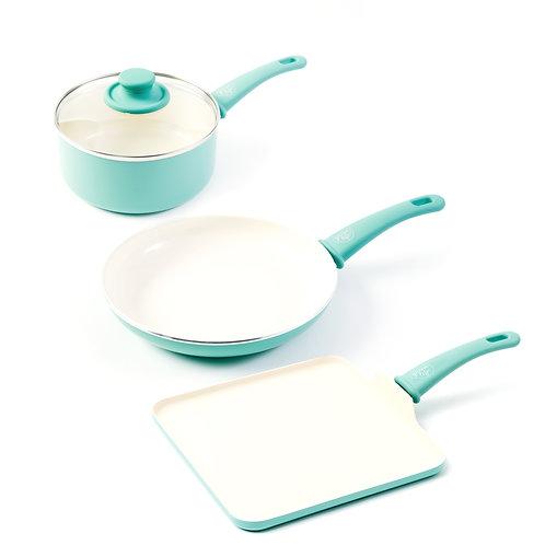 Soft Grip Ceramic Nonstick 4-Piece Cookware Set