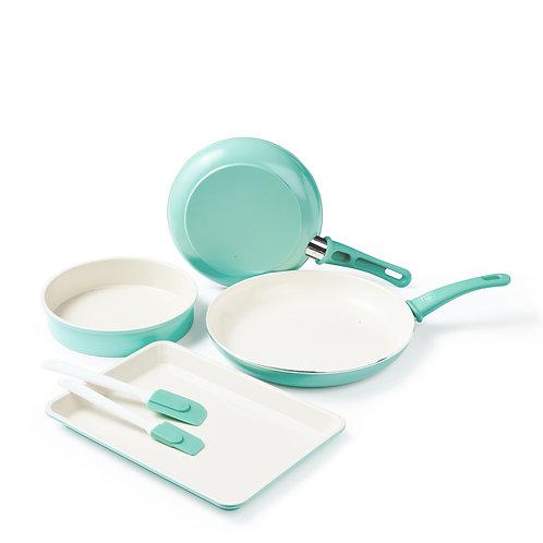 Soft Grip Ceramic Nonstick 6-Piece Cookware Set