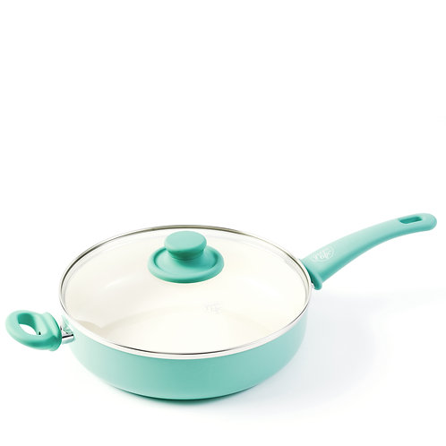 Soft Grip Ceramic Nonstick 12-Inch Covered Jumbo Sauté Pan, Turquoise