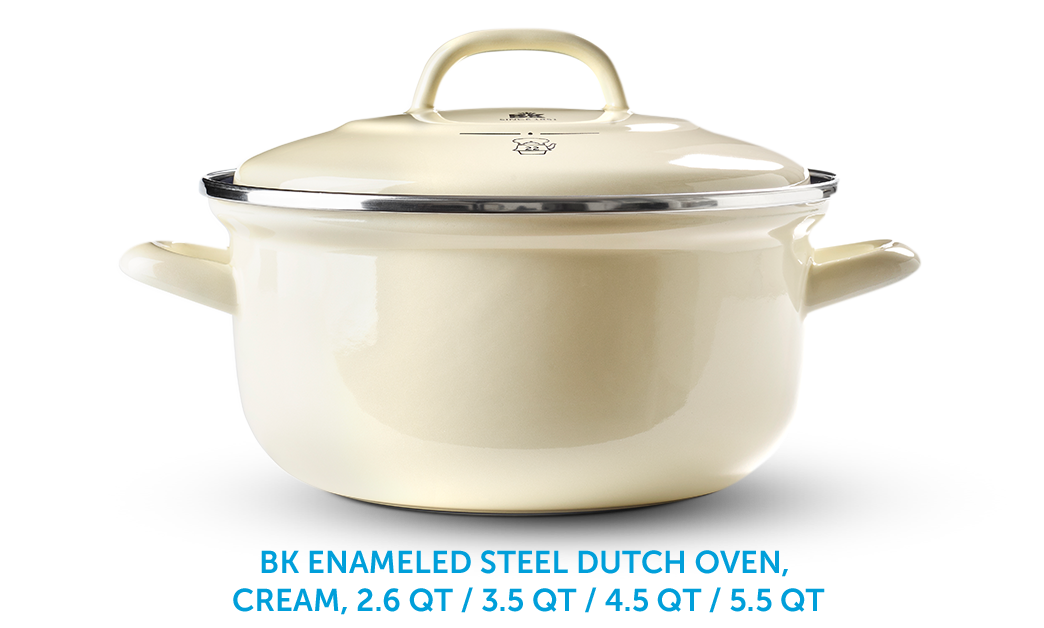 BK Enameld Steel Dutch Oven, Cream