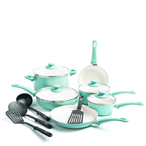 Soft Grip Ceramic Nonstick 14-Piece Cookware Set