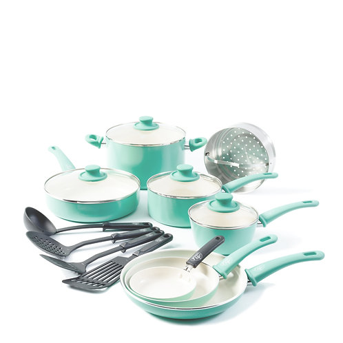 Soft Grip Ceramic Nonstick 16-Piece Cookware Set