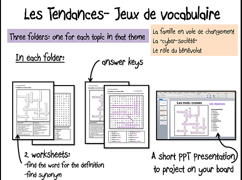 Les Tendances- Vocab Games/ worksheets