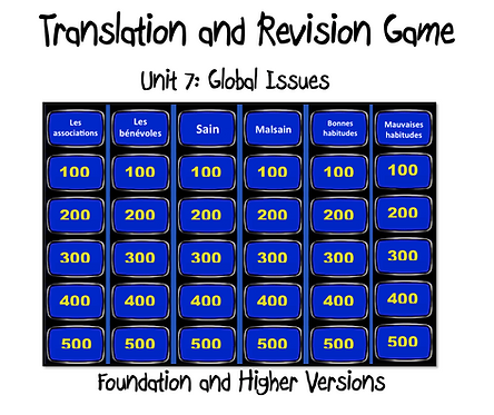Unit 7 GCSE-Revision and Translation Game