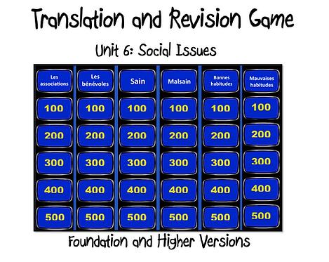 Unit 6 GCSE-Revision and Translation Game