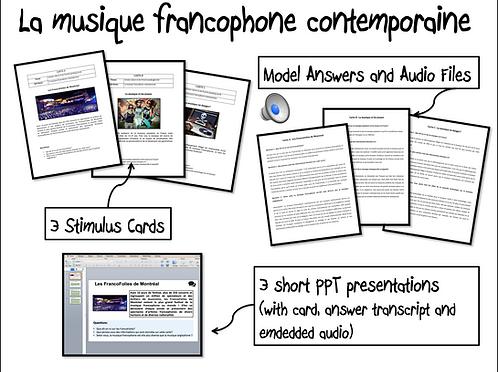 La musique francophone contemporaine-Stimulus Cards/ Model Answers and Au