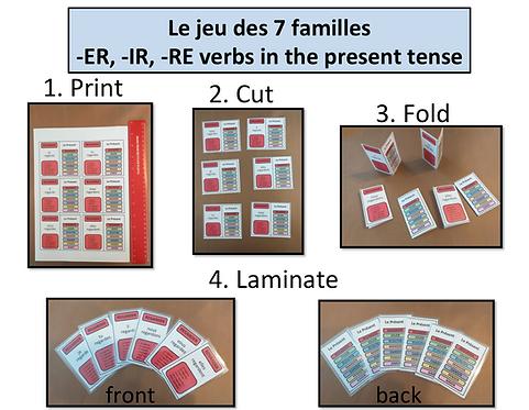 7 familles: -ER, -IR, -RE Verbs/ Present Tense