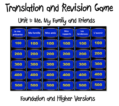 Unit 1 GCSE-Revision and Translation Game