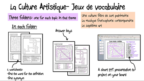 La Culture Artistique- Vocab Games/ worksheets