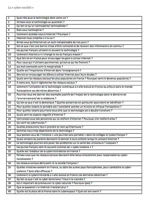 La cyber-société- Possible Questions and Model Answers