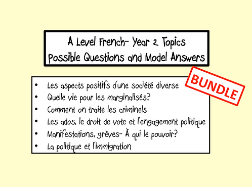 Year 2 Topics- Possible Questions and Model Answers- BUNDLE