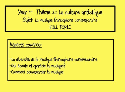 La musique francophone contemporaine- FULL TOPIC