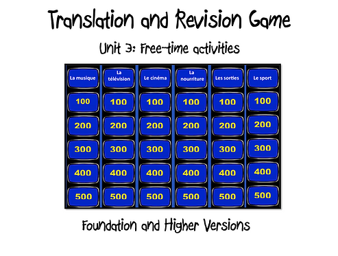Unit 3 GCSE-Revision and Translation Game