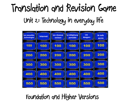 Unit 2 GCSE-Revision and Translation Game