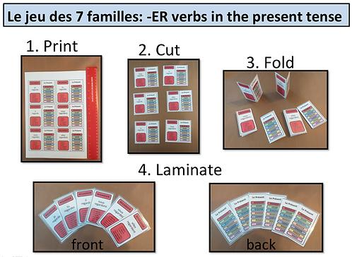7 familles: -ER Verbs/ Present Tense