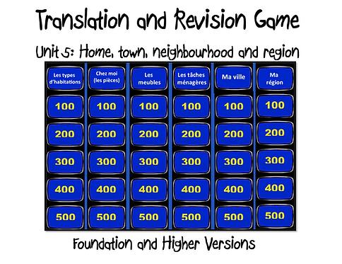 Unit 5 GCSE-Revision and Translation Game