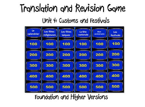 Unit 4 GCSE-Revision and Translation Game