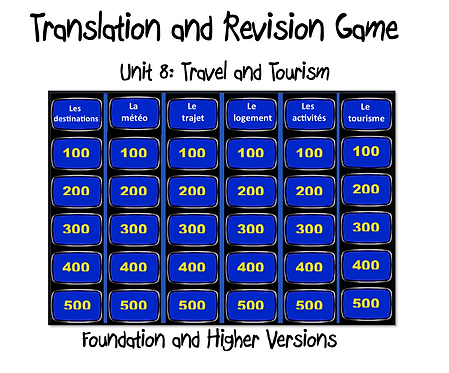 Unit 8 GCSE-Revision and Translation Game
