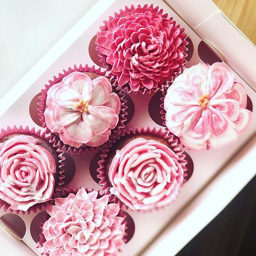 6 Pack Floral Cupcakes