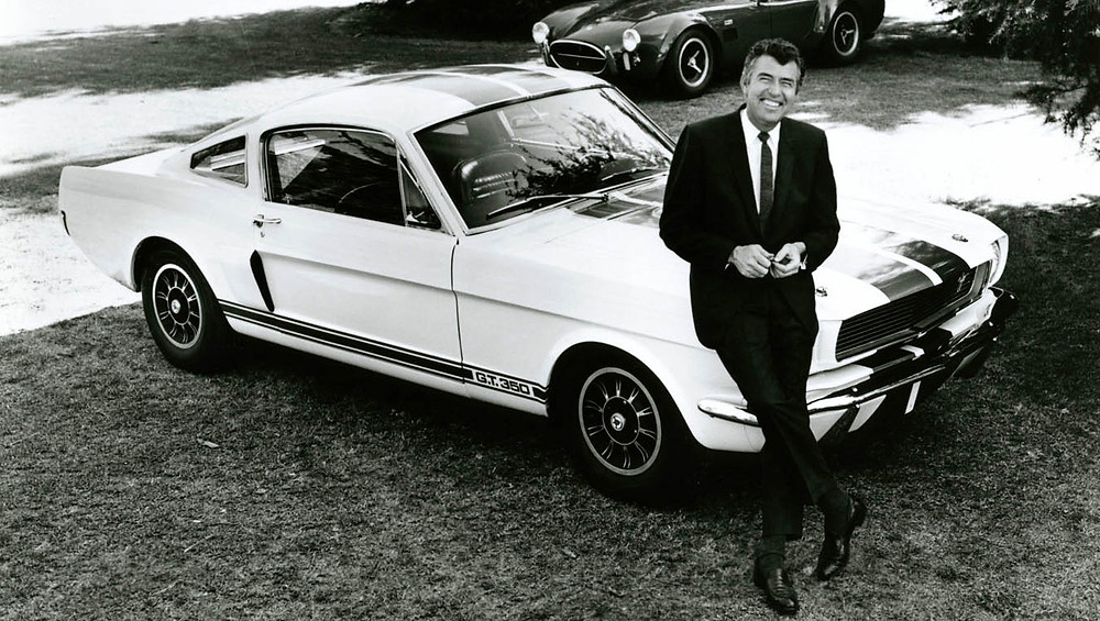 Carroll Shelby posing with a new GT350    Image by Shelby American