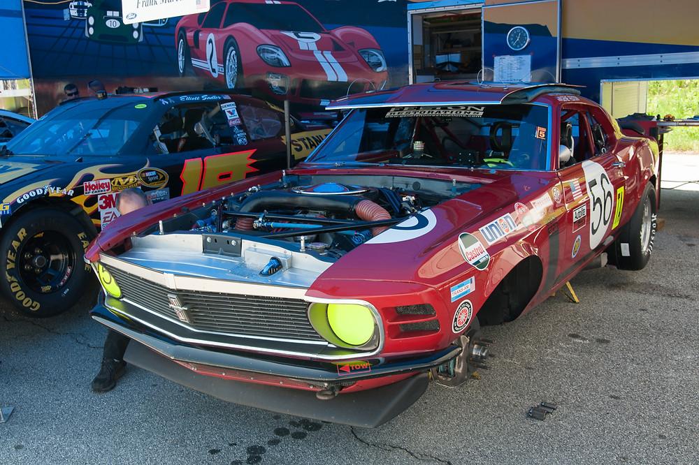 1970 Boss 302 race car under pit inspection
