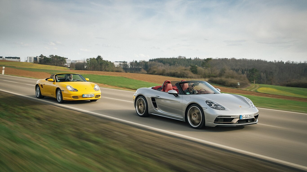 718 Boxster followed by its progenitor