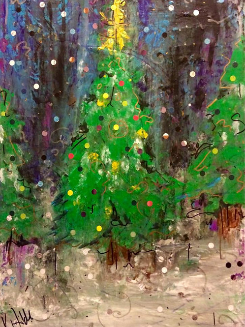 Evergreen Sparkle Note Cards