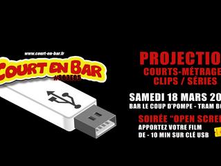 Projection open screen. Clips : Correspondances vidéo #8 et #12 du projets Hors Format.