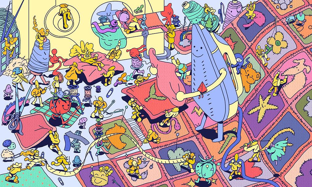 illustration editorial planadviser quilting teamwork cartooning adventure