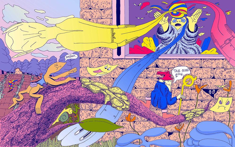 uh oh tiny wizard magic sorceror lizard illustration cartooning fantasy comic design color illustrator