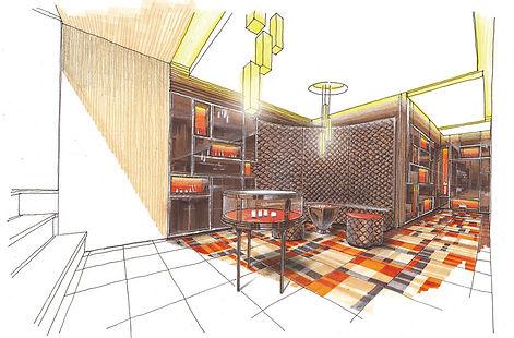 perspective 手書きパース 内装デザイン インテリアデザイン デザインスケッチ interior design sketch チャン&パートナーズ CHAN&partners 찬앤파트너스 찬&파트너스