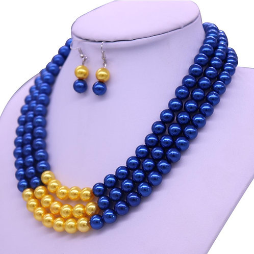 Blue and Gold Necklace-Earring Set