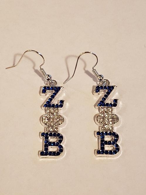 Zeta Phi Beta Austrian Crystal Earrings