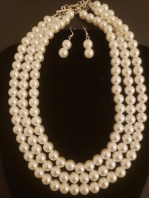White Necklace-Earring Set