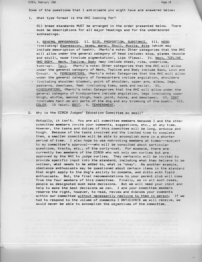 Curly coated retrieve standard revision committee, Inroduction Article, Page 2, 1988