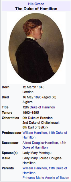 Duke of Hamilton picture and brief biography.