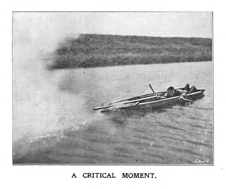1800's waterfowl hunter Snowden Slights in his boat. Owner of curly coated retrievers.