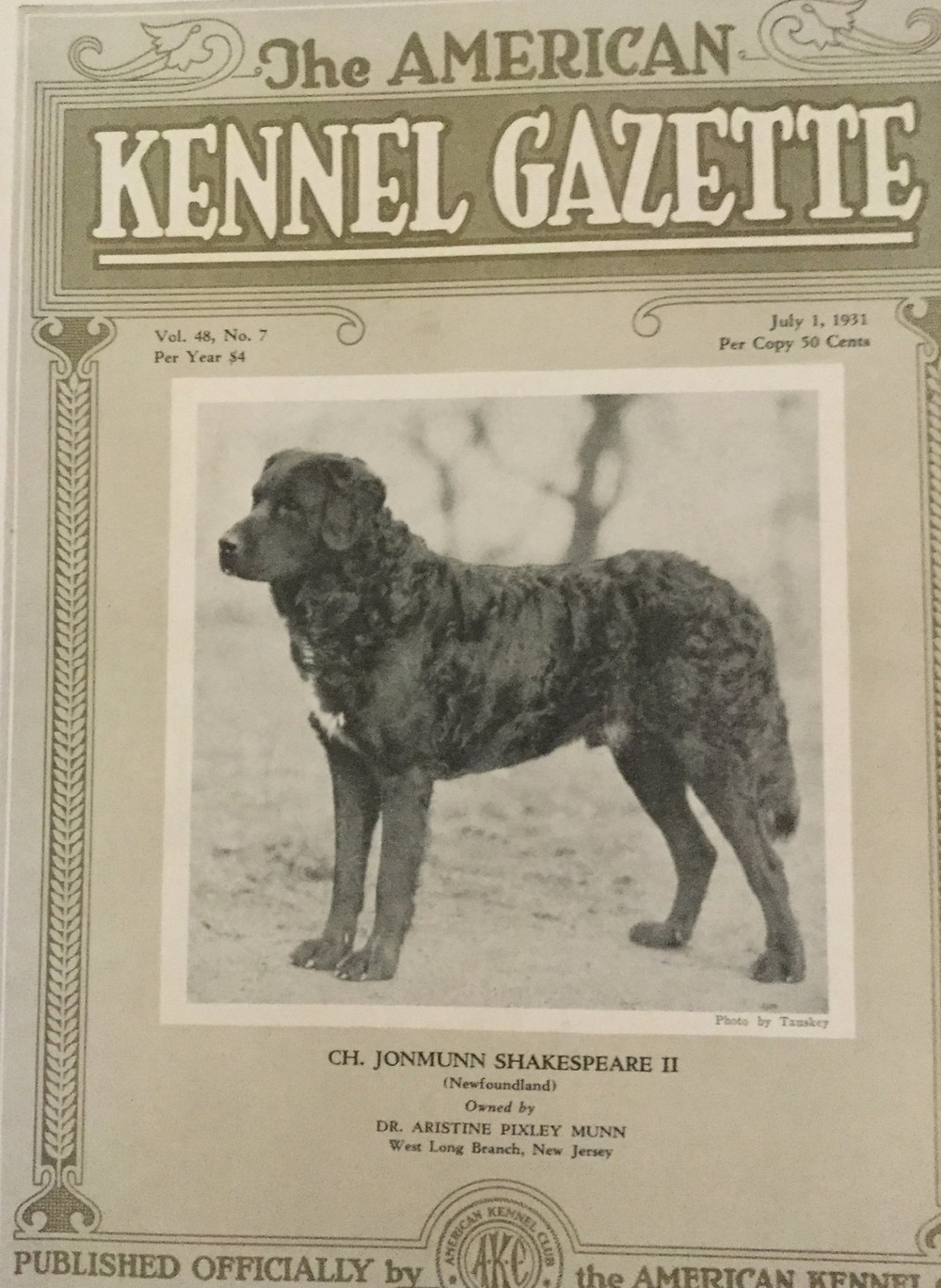 Cover of the 1925 AKC Gazette featuring Newfoundland dog Ch. Jonmunn Shakespeare.
