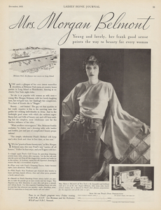 Curly coated retriever owner Mrs. Morgan Belmont featured in a 1931 advertisement for Pond's cold cream.