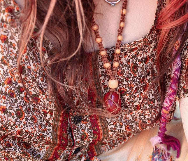 """Forest Burn"" Macrame Crystal Necklace"
