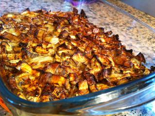 פשטידה דיאטטית מחצילים ובצל ללא קמח  4 מנות, כל מנה: 130 קלוריות)